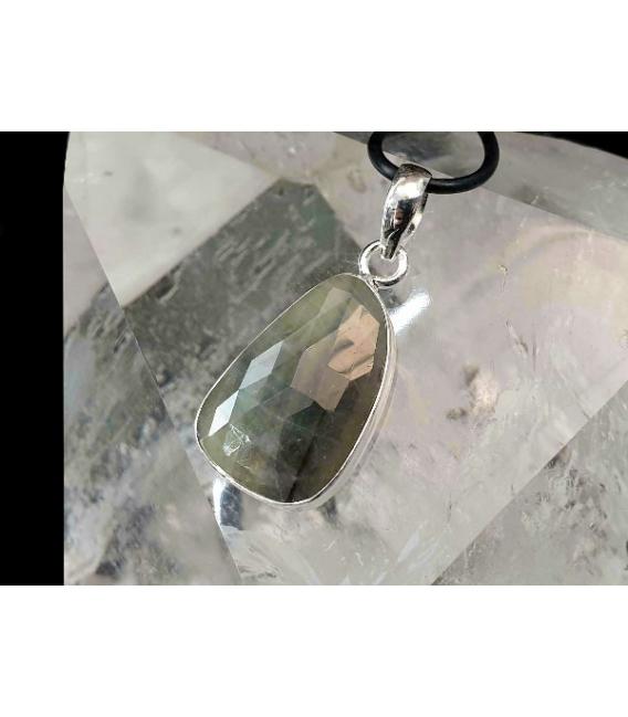 Colgante cabujon facetado zafiro plata
