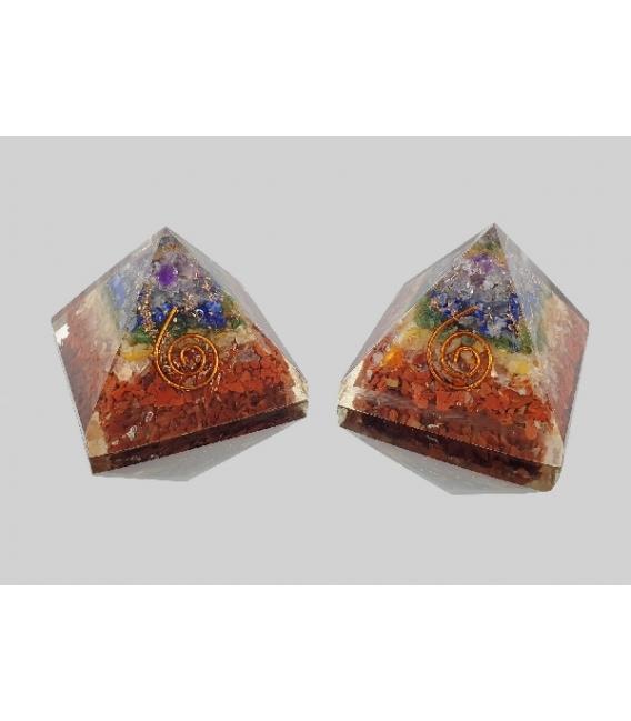 Pirámide orgonite 5x5cm Chacras
