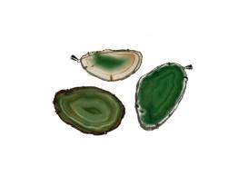Colgante chapa agata verde plateada (5ud)