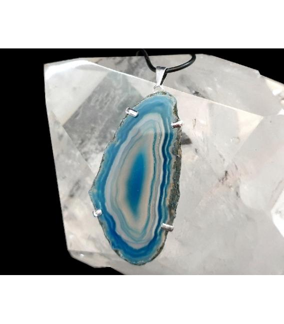 Colgante chapa agata azul plateada (5ud)