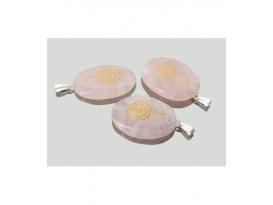 Colgante chocurrey cuarzo rosa (5ud)