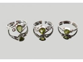 Anillo adaptable gema olivino plata