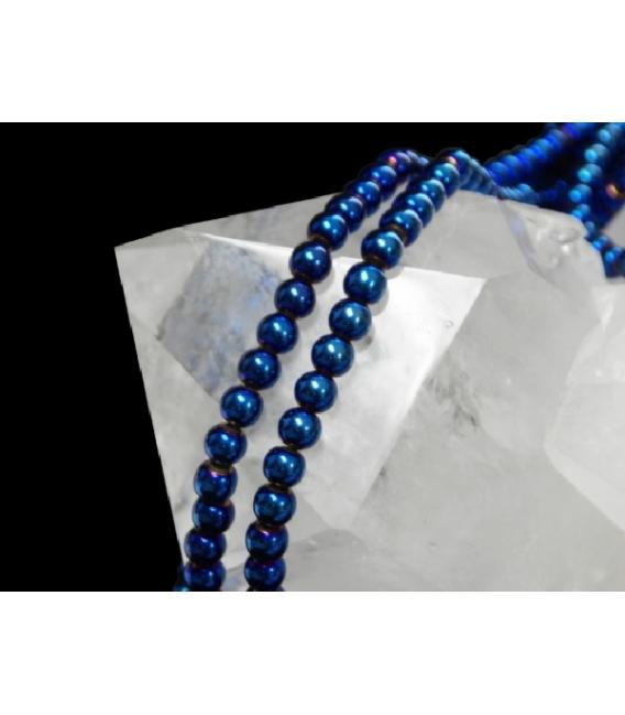 Hilo bola hematite color azul 4mm