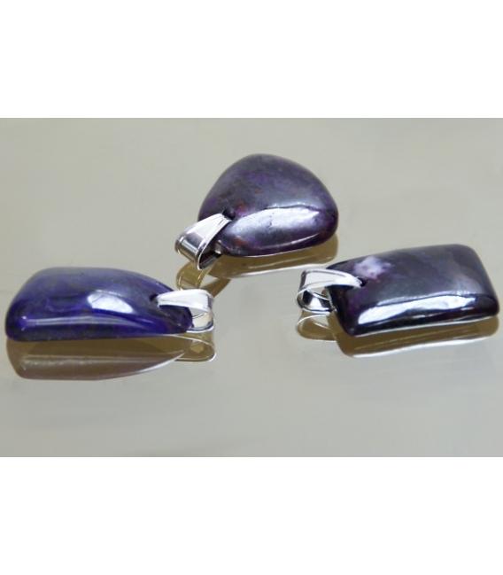 Colgante cabujón irregular sugilita plata (1ud)
