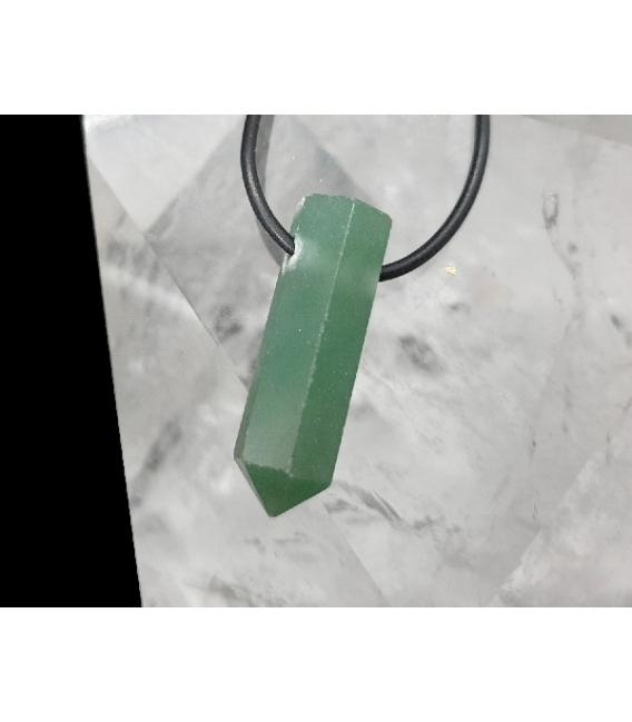 Colgante punta agujereada cuarzo verde  (5ud)