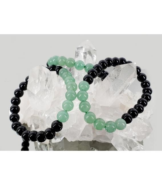 Pulsera cuarzo verde con obsidiana negra 8mm
