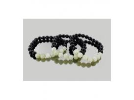 Pulsera jade con obsidiana negra 8mm