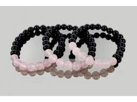 Pulsera cuarzo rosa con obsidiana negra 8mm