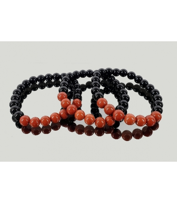 Pulsera jaspe rojo con obsidiana negra 8mm