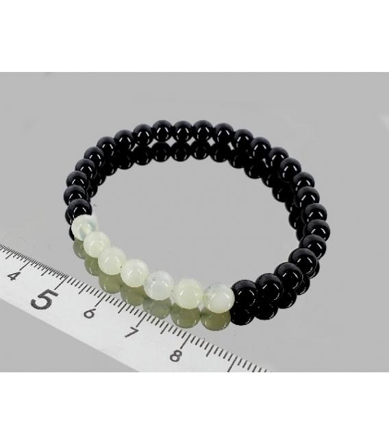Pulsera jade con obsidiana negra 6mm