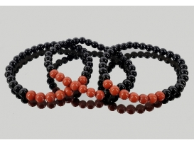 Pulsera jaspe rojo con obsidiana negra 6mm