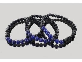Pulsera lapislázuli con obsidiana negra 6mm