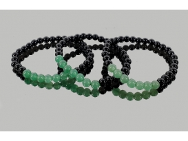 Pulsera cuarzo verde con obsidiana negra 6mm