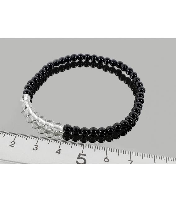 Pulsera cuarzo con obsidiana negra 4mm