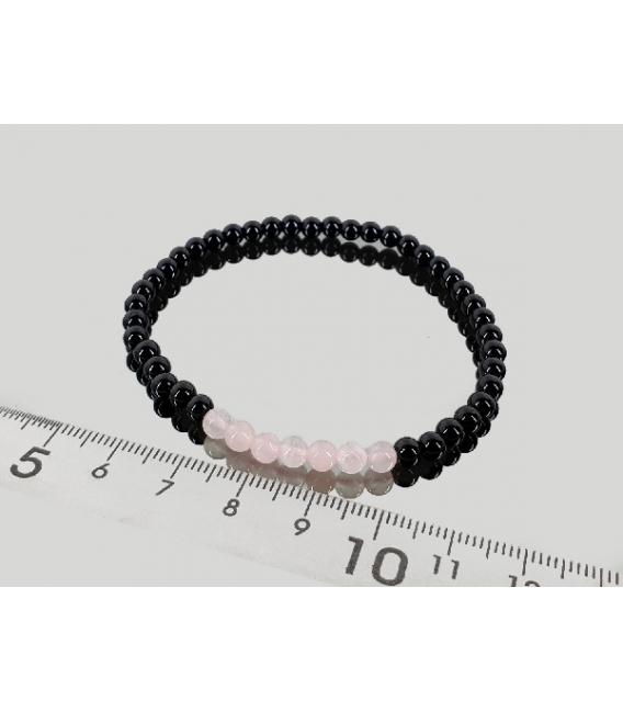 Pulsera cuarzo rosa con obsidiana negra 4mm