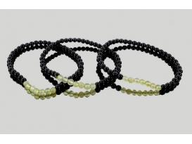 Pulsera jade con obsidiana negra 4mm