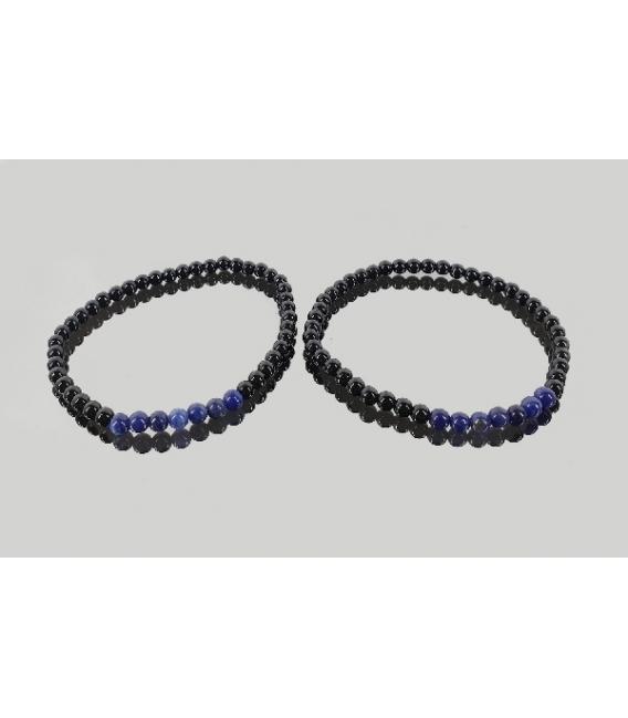 Pulsera sodalita con obsidiana negra 4mm