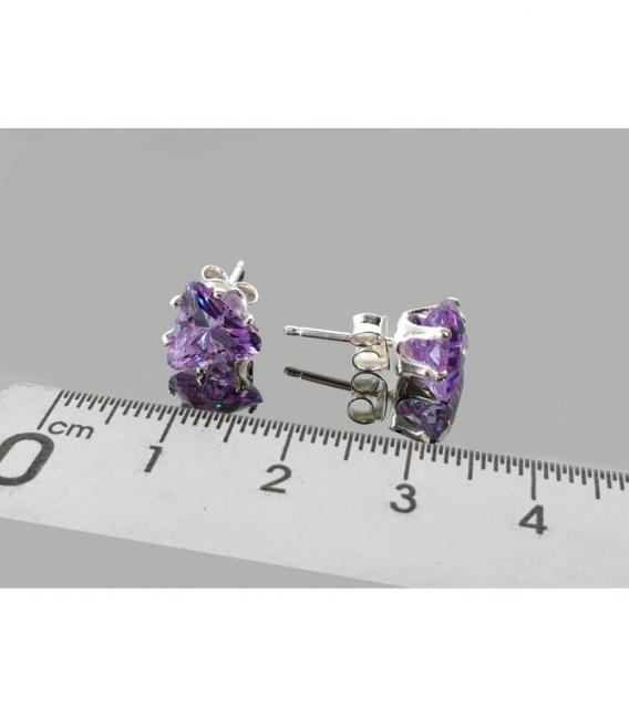 Pendiente circonita triangulo swarovski plata (3par)
