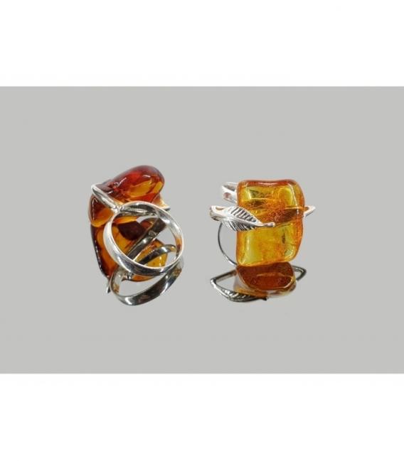 Anillo diseño ambar adaptable plata