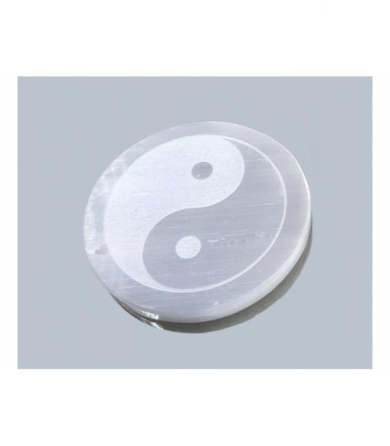 Placa grabada selenita yin yang