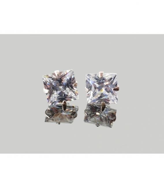 Pendiente cuadrado 10 mm. circonita plata (2par)
