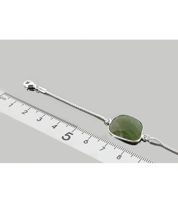 Pulsera tallada jade 17cm. plata