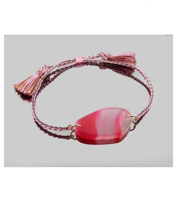 Pulsera macrame chapa agata rosa