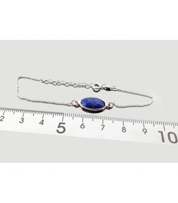 Pulsera niña tallada lapislázuli 15mm plata