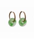 Pendiente aro acero bronceado hipoalergénico donut jade