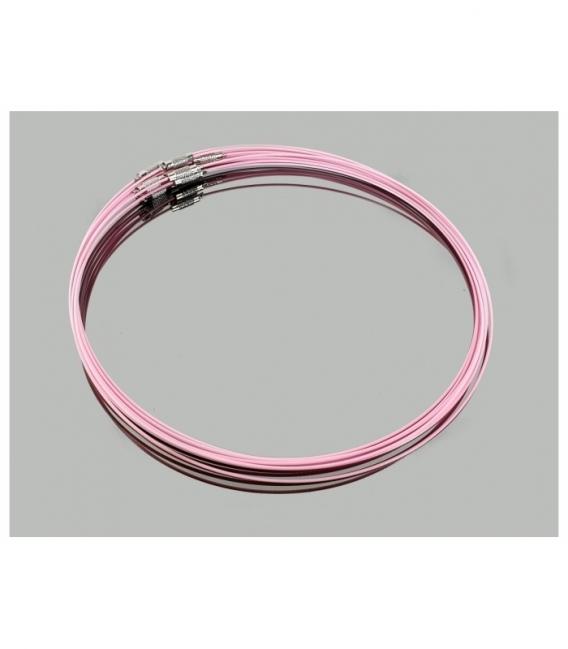 Gargantilla acero rosa claro (10ud)