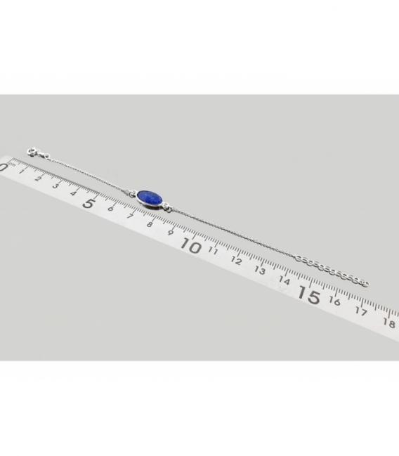 Pulsera tallada lapislázuli 17cm plata