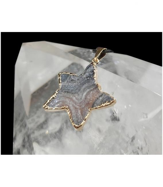 Colgante estrella calcedonia dorado (3ud)