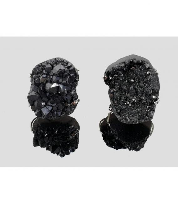Anillo drusa aqua aura negro (2ud)