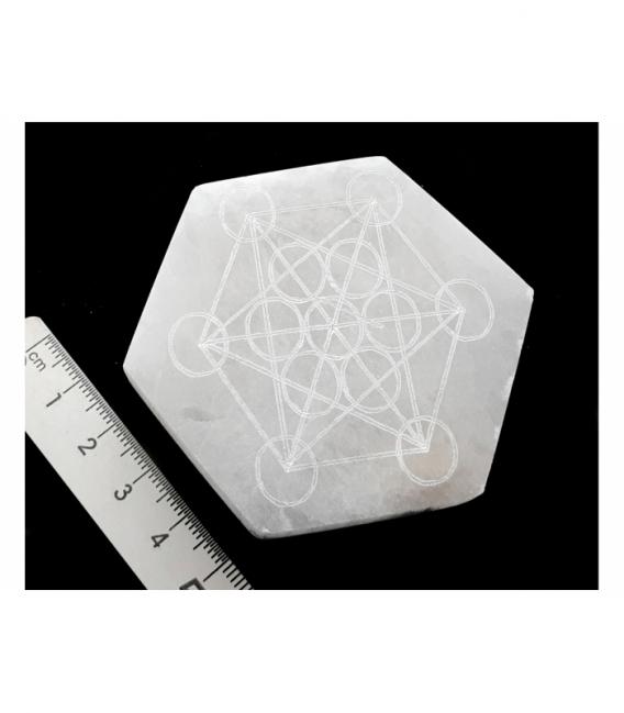 Hexágono de selenita metatron 7 cm