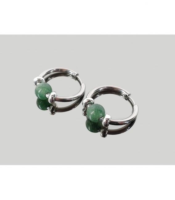 Pendiente aros acero hipoalergénico cuarzo verde