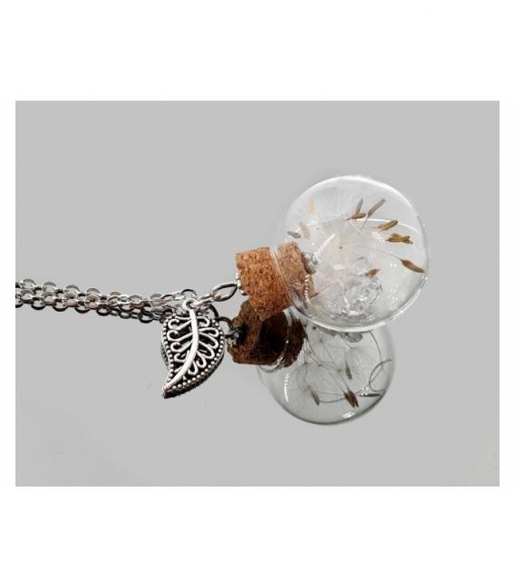 Collar acero botella diente de leon herkimer