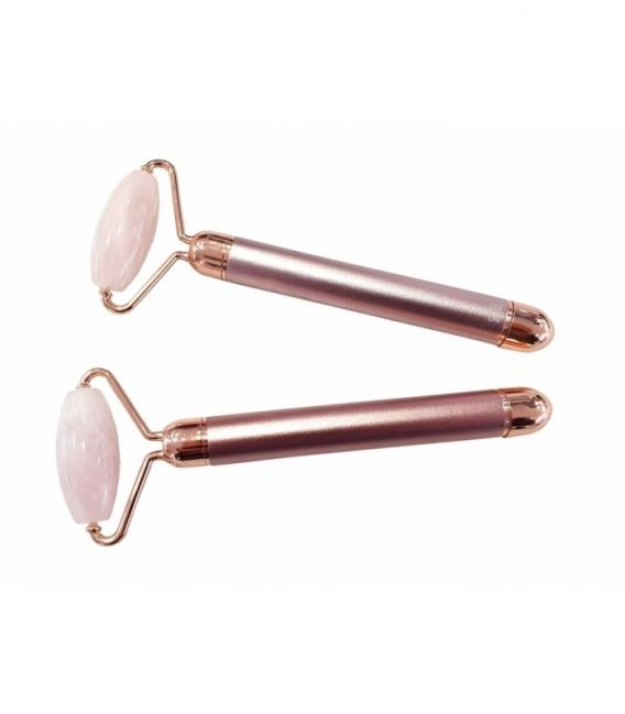 Masajeador rodillo cuarzo rosa vibrador