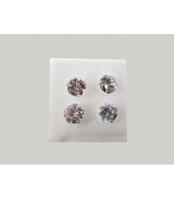 Pendiente  circonita 9 mm.plata (2par)