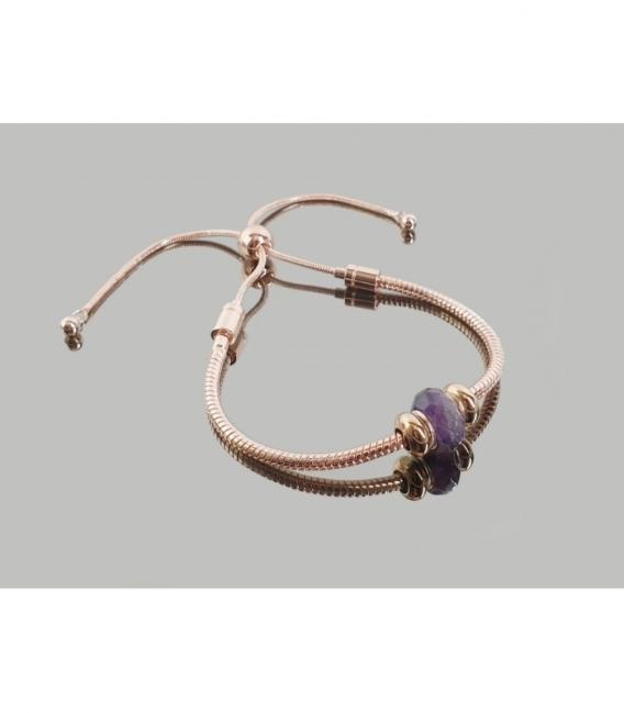 Pulsera acero rosado amatista adaptable