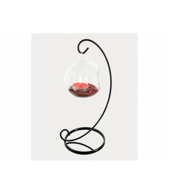 Portavela ola esfera pequeña jaspe rojo