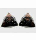 Piramide orgonite 9x9cm shungita con arbol cuarzo rosa