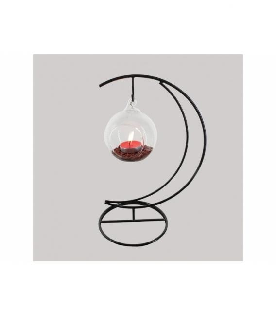Portavela luna esfera jaspe rojo