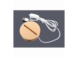 Base luz led usb madera circular 8.5 cm