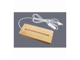 Base luz led usb madera rectangular 5x15 cm