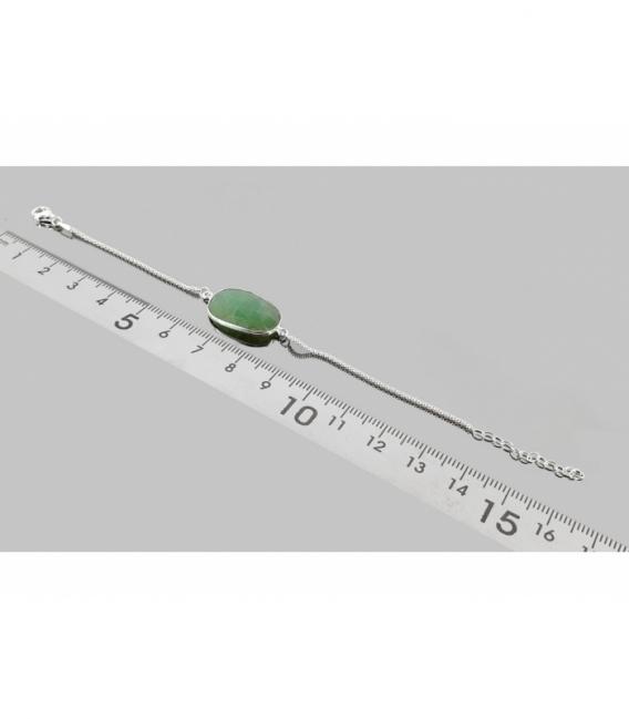 Pulsera tallada crisoprasa 17cm. plata