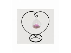 Portavela corazón esfera cuarzo rosa