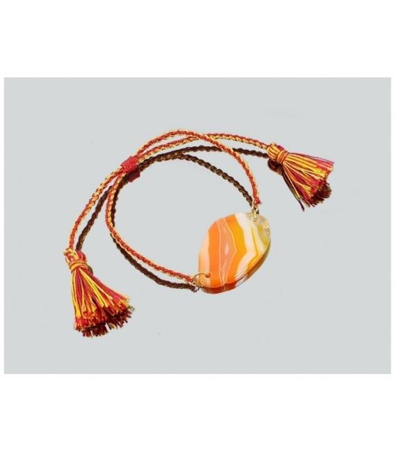 Pulsera macrame chapa agata naranja