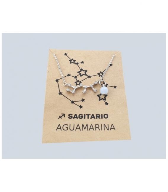 Pulsera constelacion Sagitario Aguamarina Plata