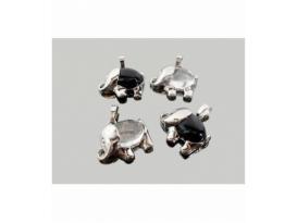 Colgante elefante cuarzo obsidiana acero (2ud)