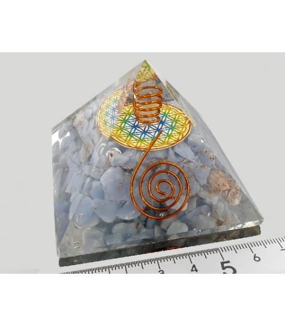 Pirámide orgonite flor de la vida 9x9cm angelita